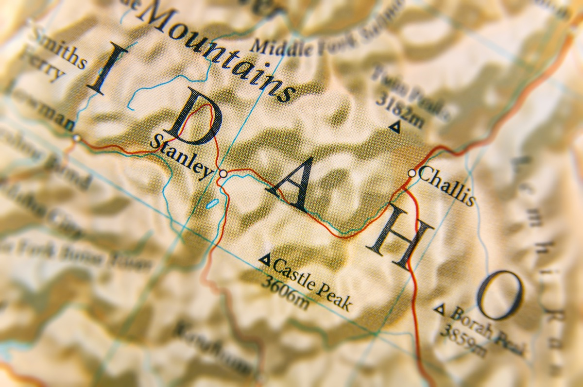 idaho geographical map state natural wonders