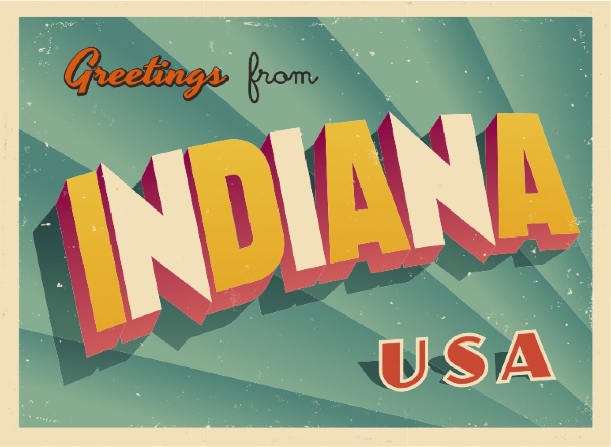 indiana postcard famous state statues