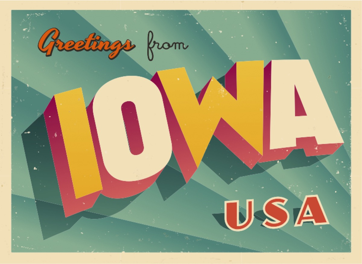 iowa postcard famous state statues