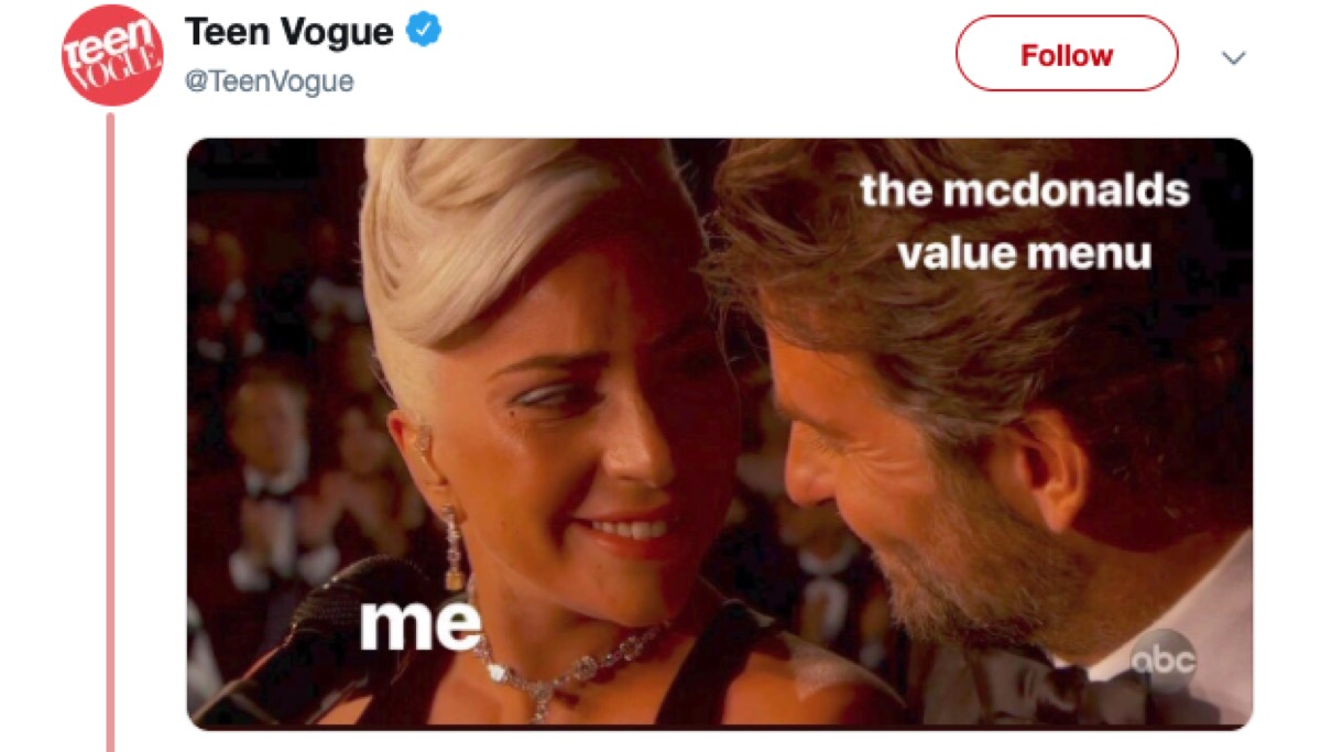 lady gaga and bradley cooper at the oscars, 2019 memes