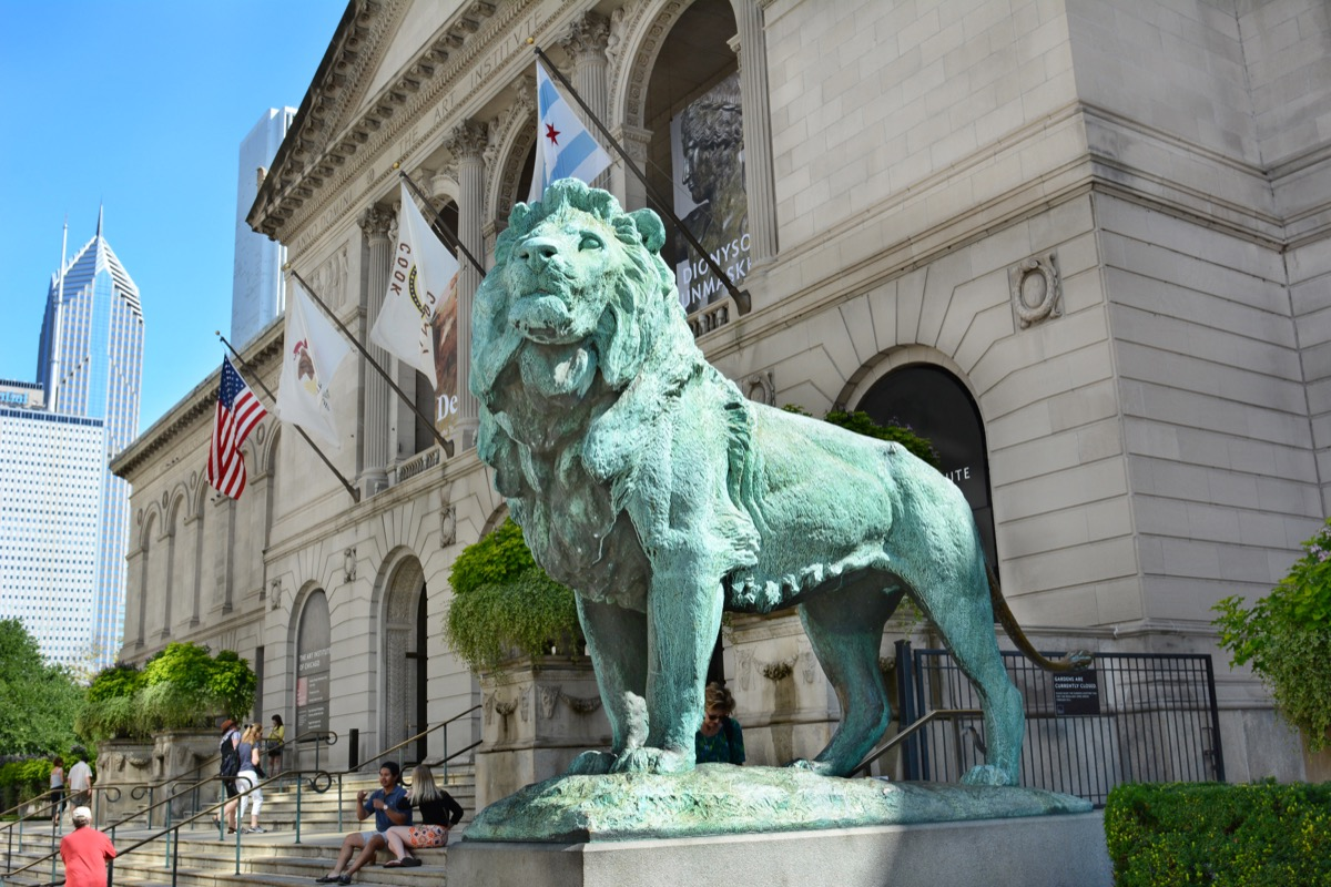 lion statue chicago illinois famous state statues