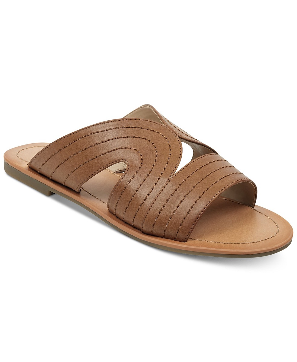 flat brown leather stitched sandals, affordable sandals