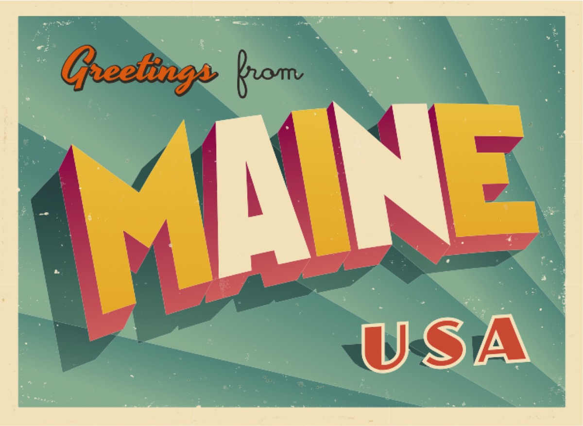 maine postcard famous state statues