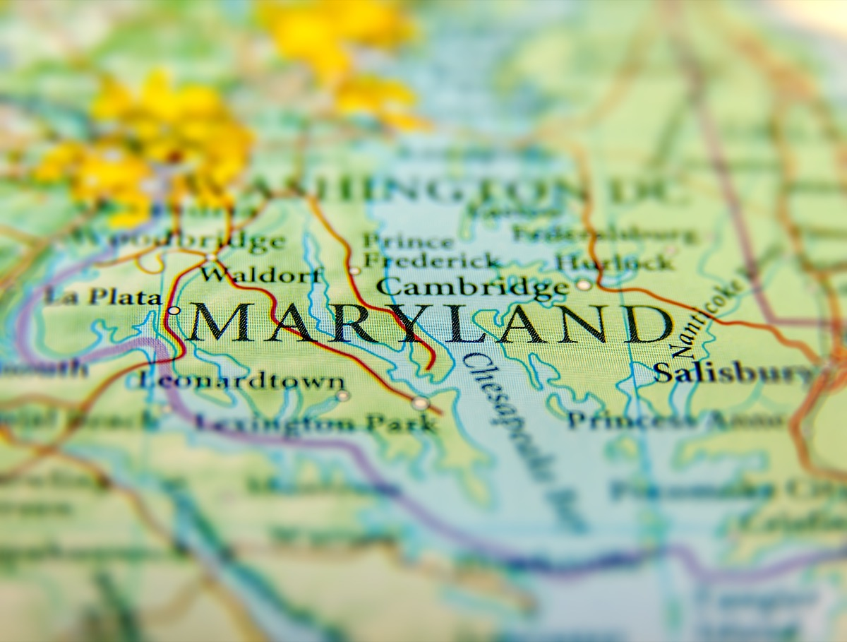 maryland geographical map state natural wonders