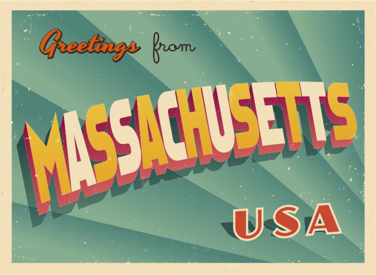 massachusetts postcard famous state statues