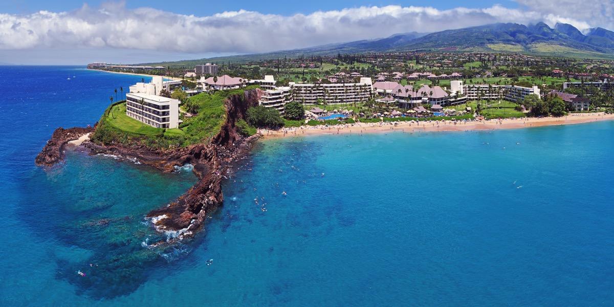 buildings along kapalua beach in maui hawaii