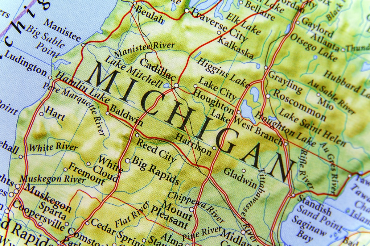 michigan geographical map state natural wonders