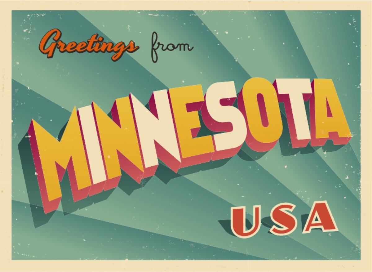 minnesota postcard famous state statues