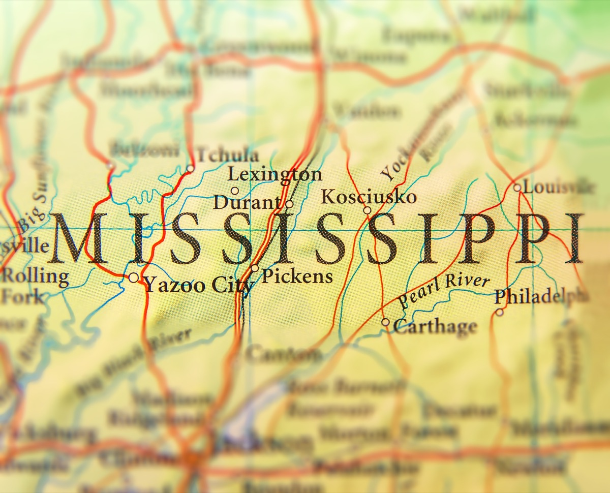 mississippi geographical map