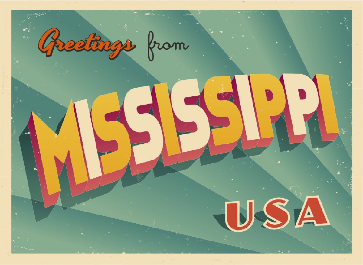 mississippi postcard famous state statues