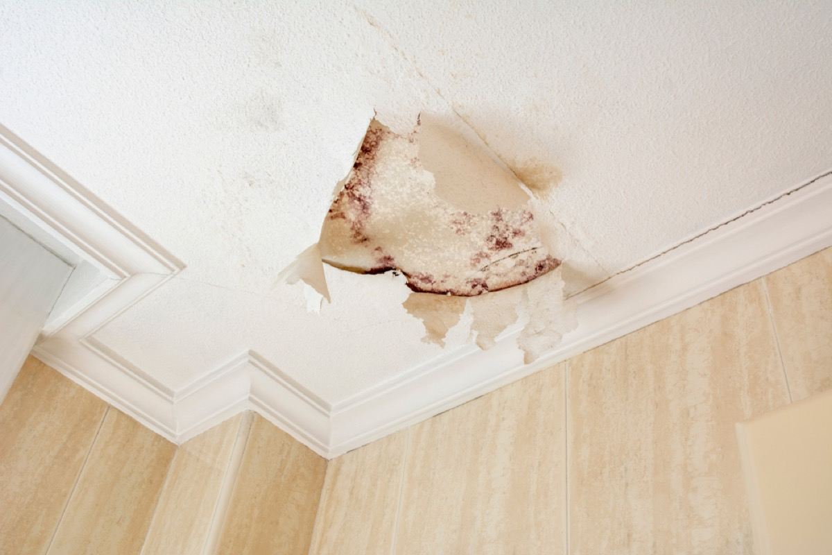 plaster ceiling with cracked paint and mold stains, signs you need a new mattress