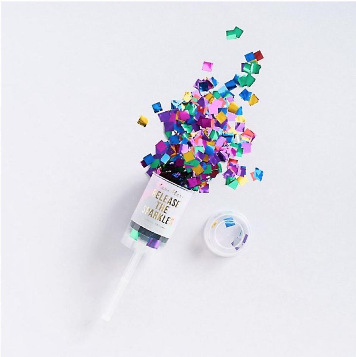 multicolor confetti popper, summer party essentials