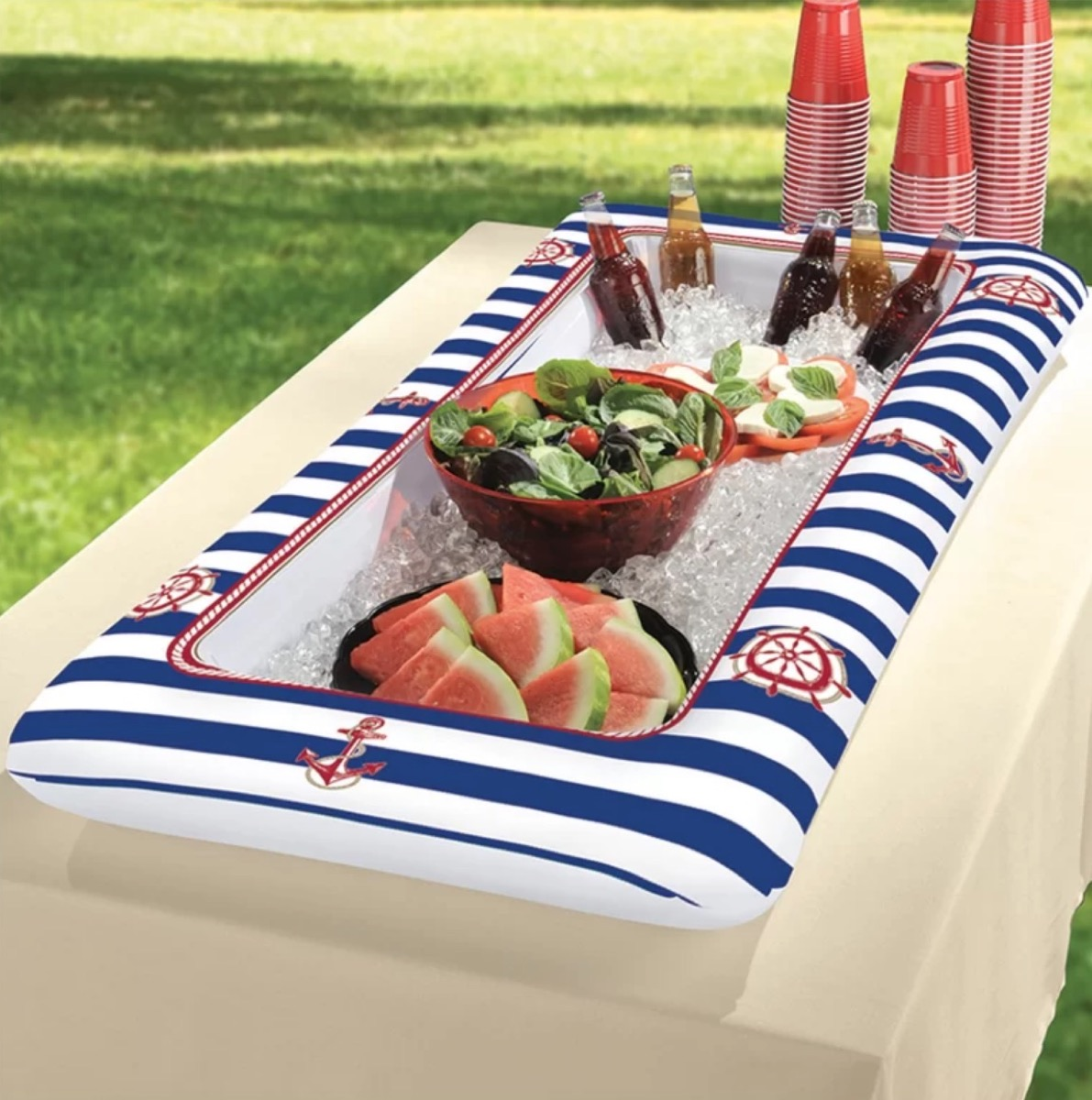 nautical inflatable cooler, summer party essentials