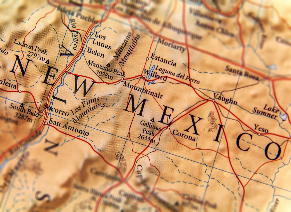 new mexico geographical map state natural wonders