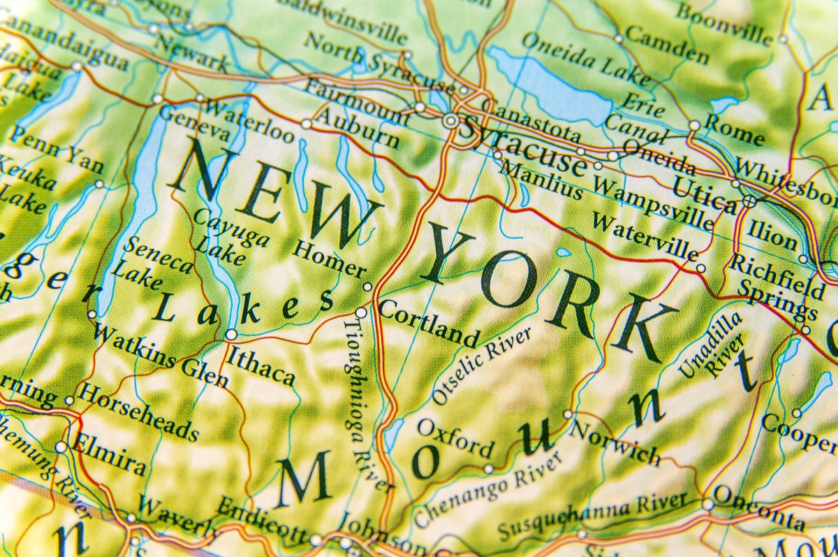 new york geographical map state natural wonders