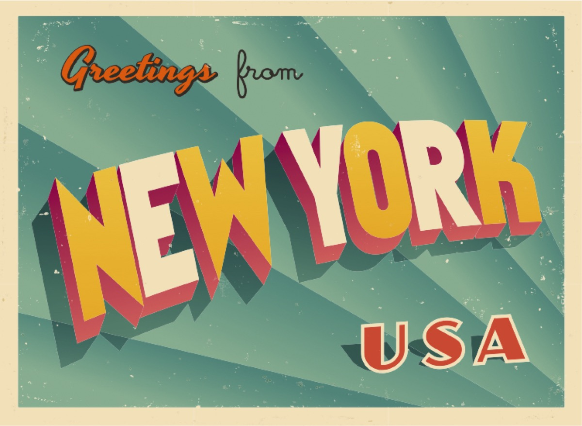 new york postcard famous state statues