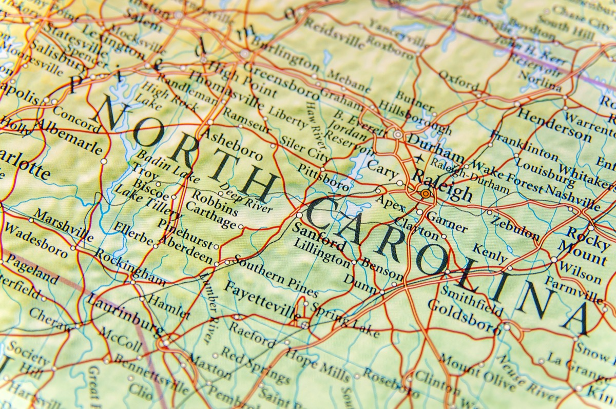 north carolina geographical map state natural wonders