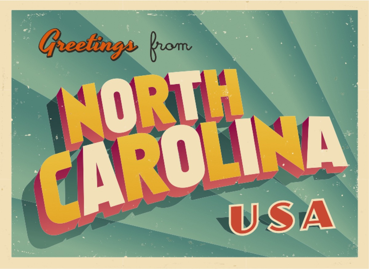 north carolina postcard famous state statues