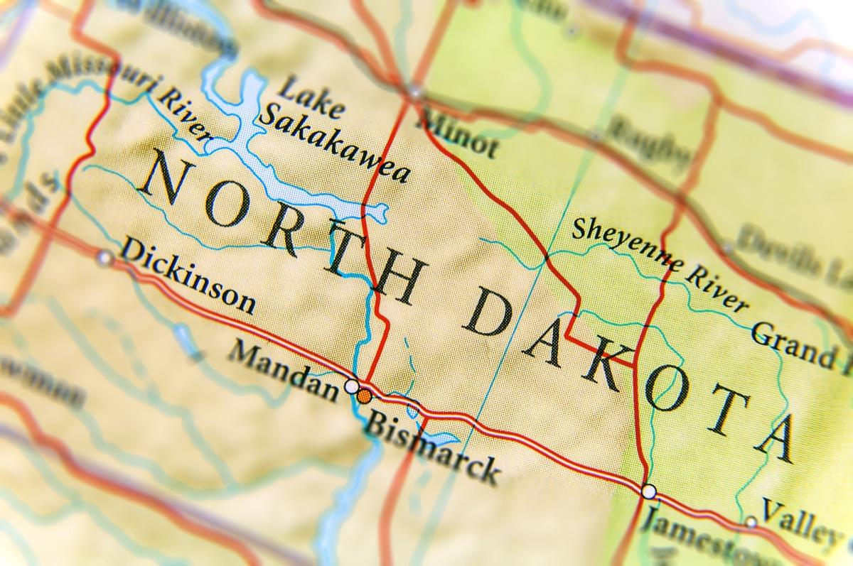 north dakota geographical map state natural wonders