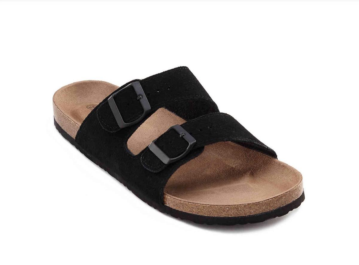 black fake birkenstocks, affordable sandals