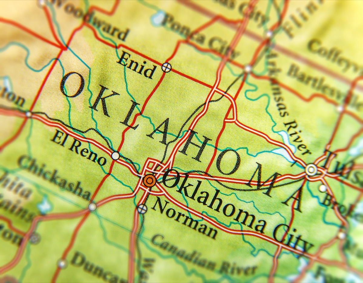 oklahoma geographical map state natural wonders