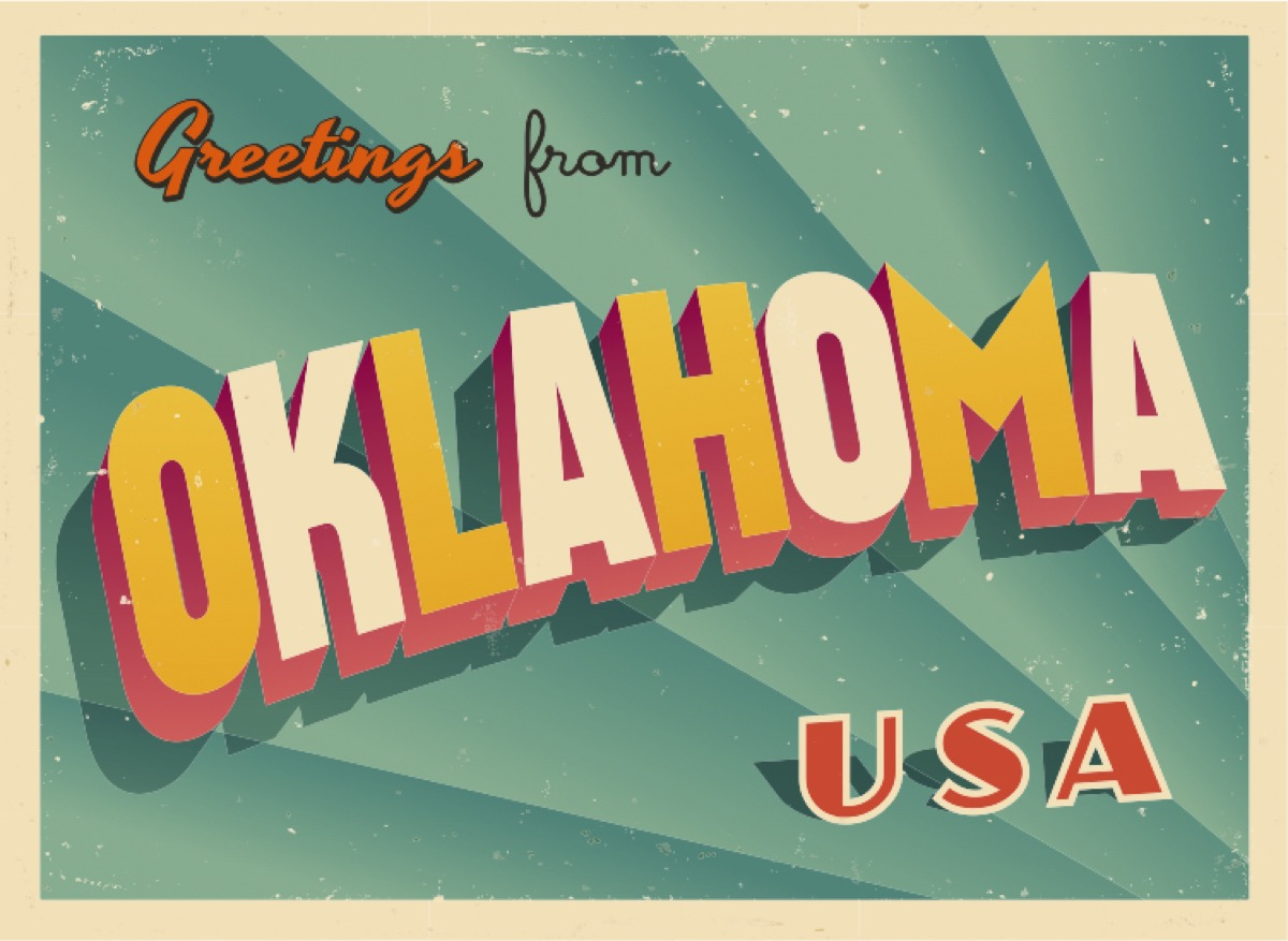oklahoma postcard famous state statues