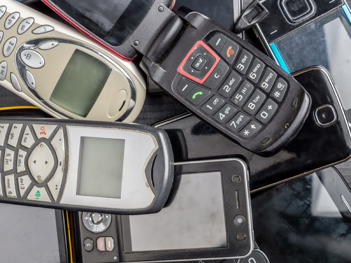 pile of outdated phones, get rid of kids stuff