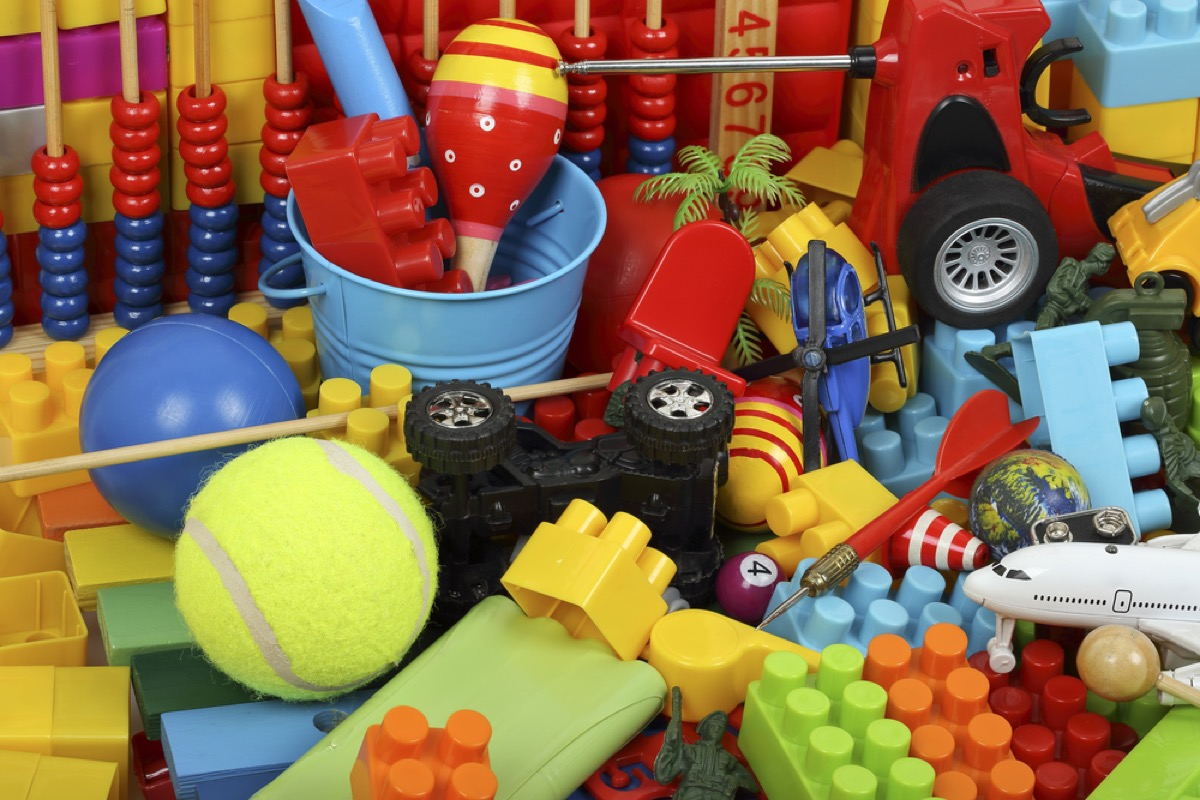 pile of legos, tennis balls, and maracas, things that annoy grandparents