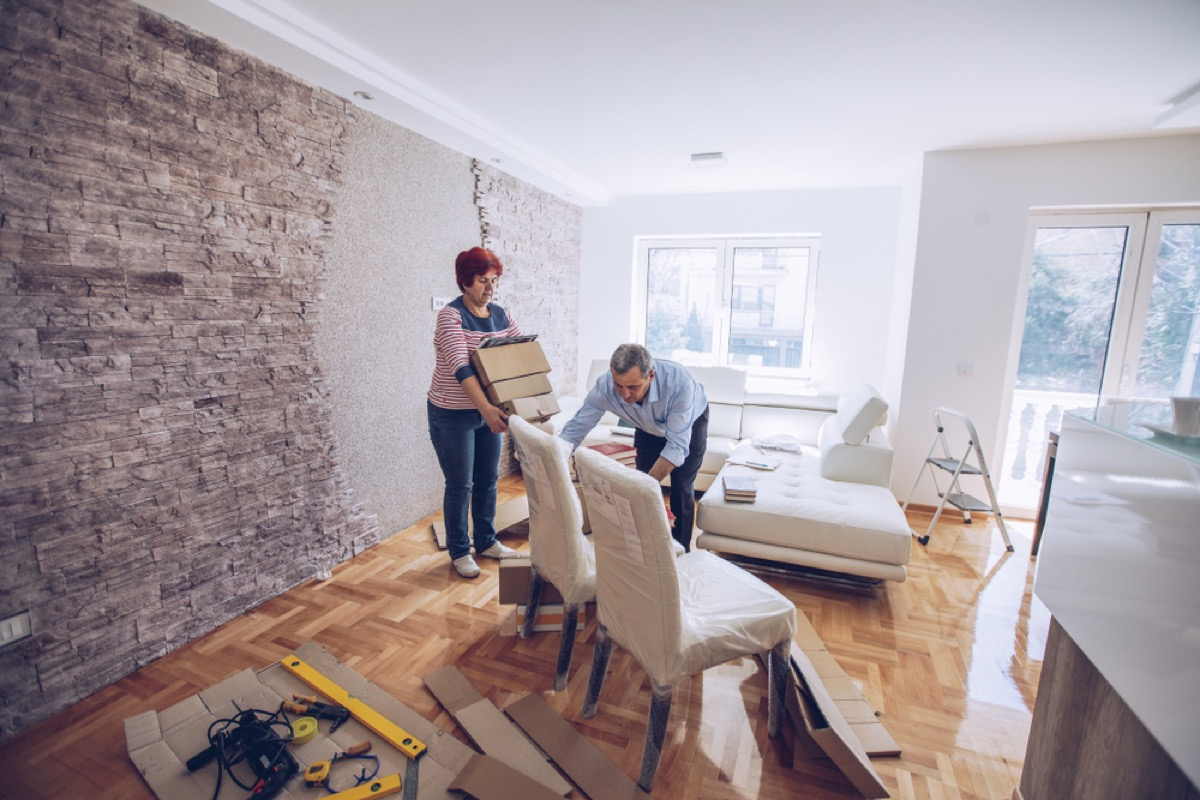 middle aged couple moving out of home, downsizing your home