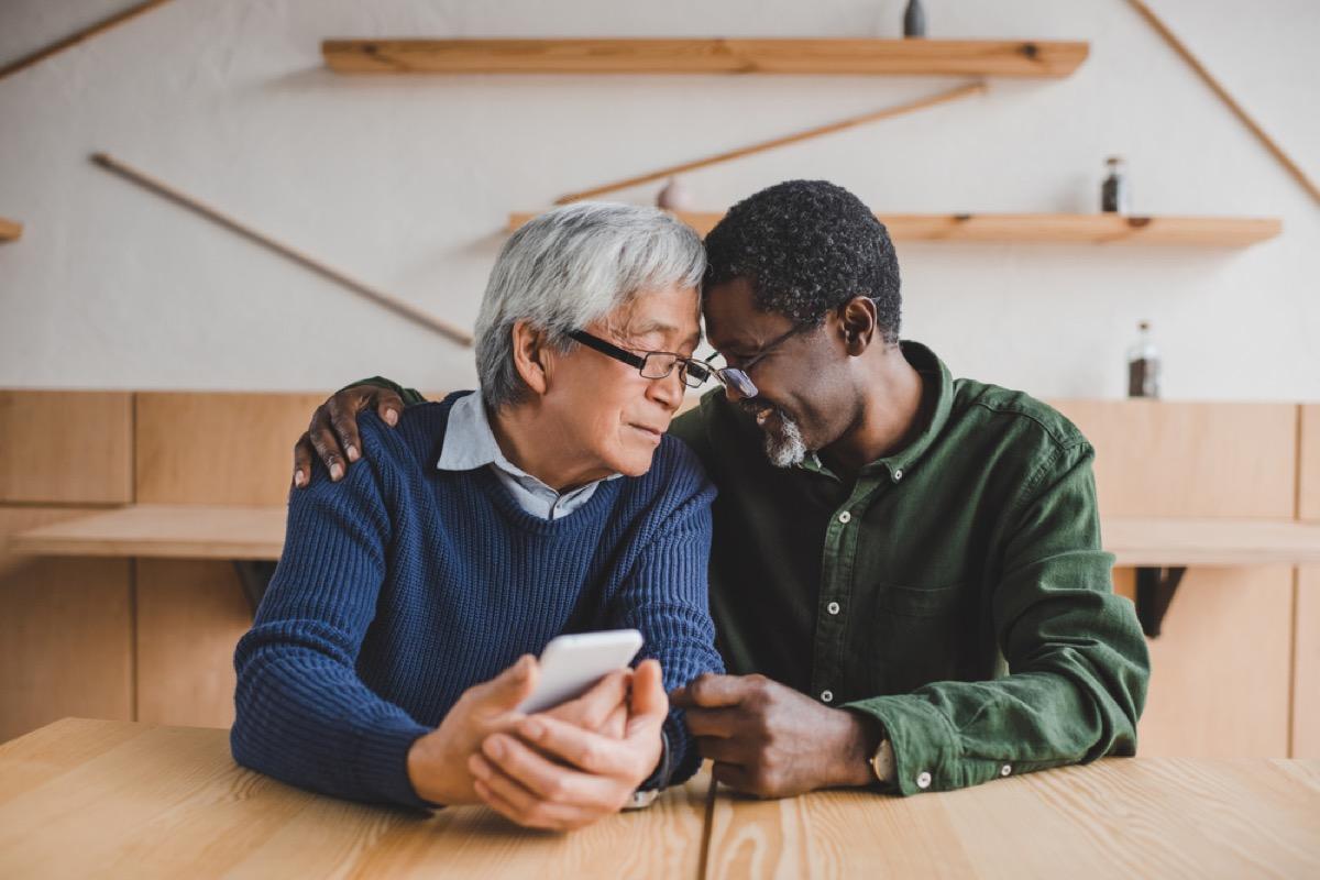 older men embracing, long marriage tips