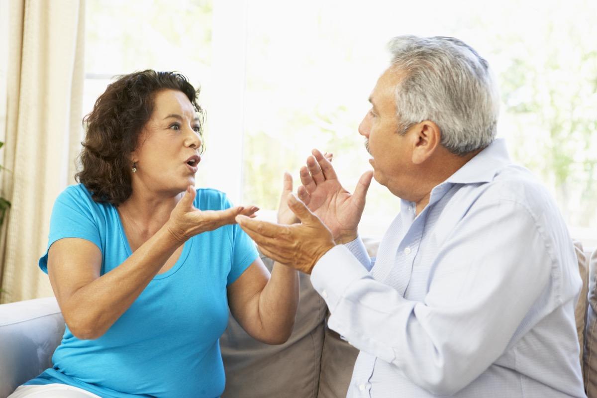 older hispanic couple arguing