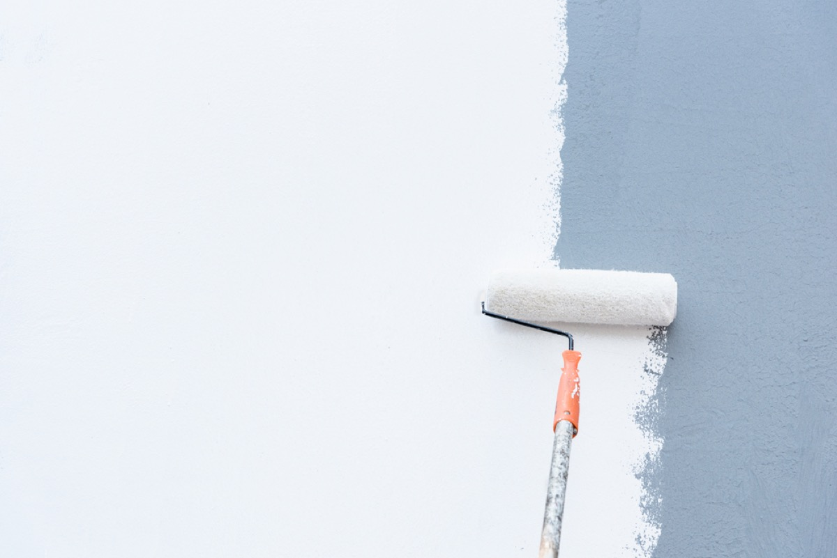 paint roller painting wall white, diy hacks