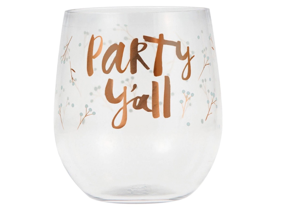 plastic stemless wine glass with gold writing, summer party essentials
