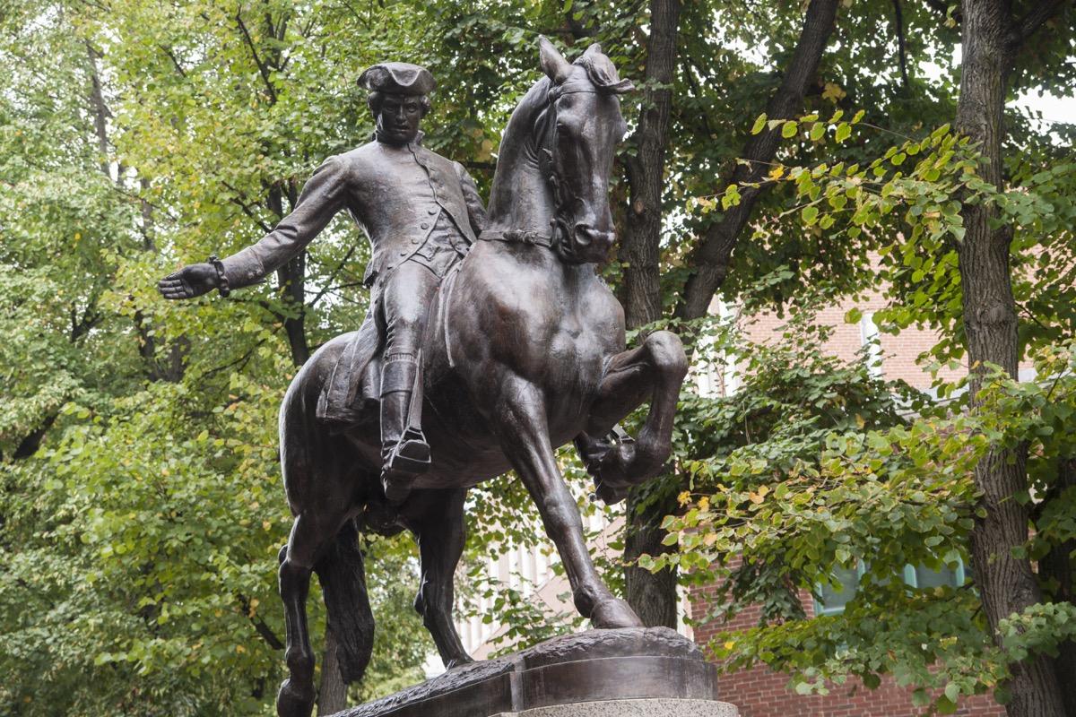 paul revere statue boston massachusetts famous state statues