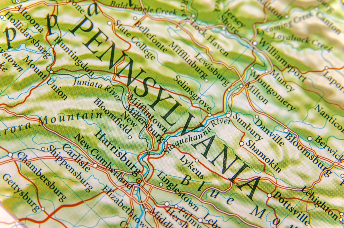 pennsylvania geographical map state natural wonders