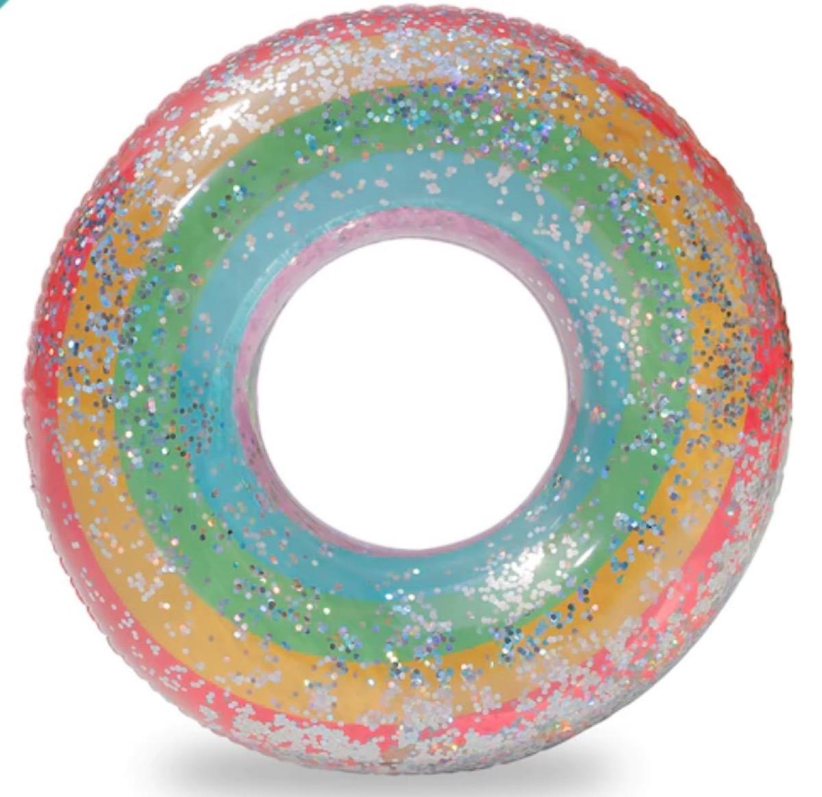 rainbow glitter inner tube, summer party essentials