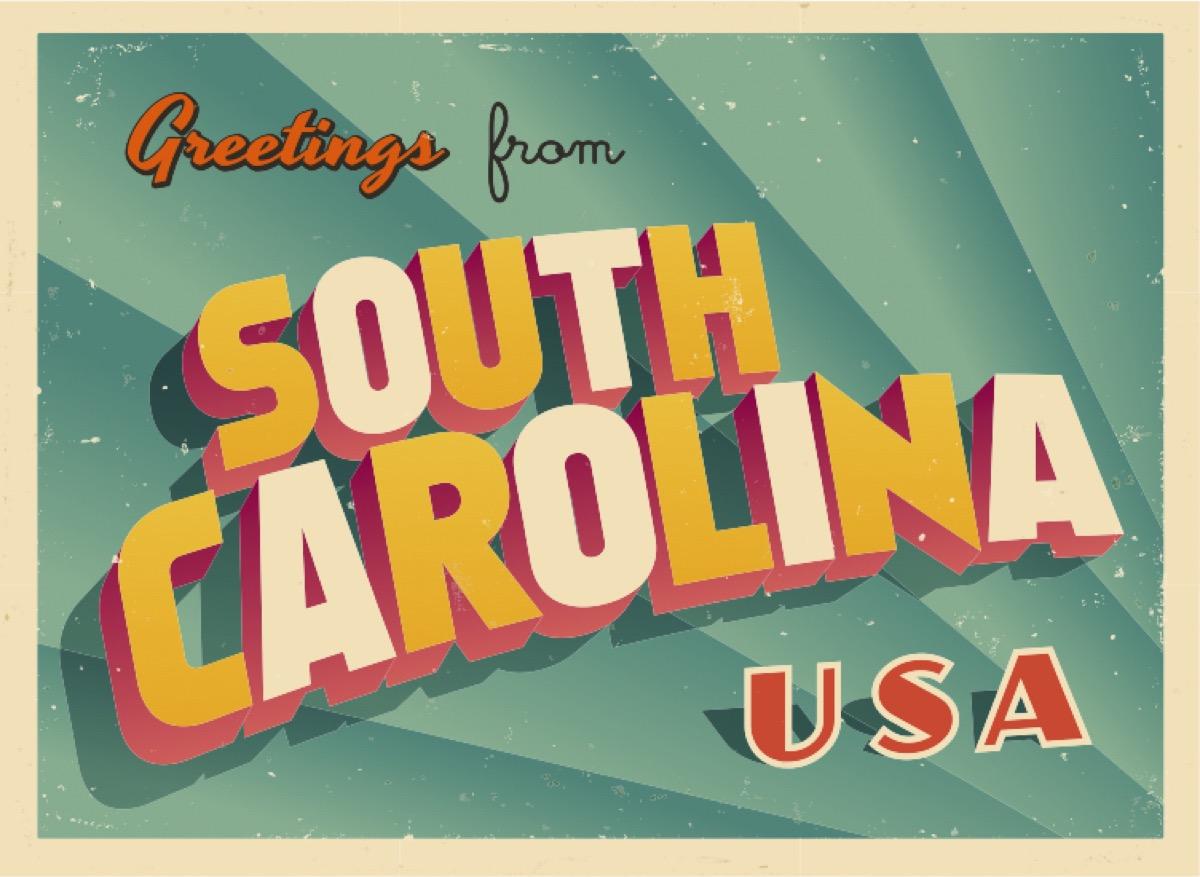 south carolina postcard famous state statues