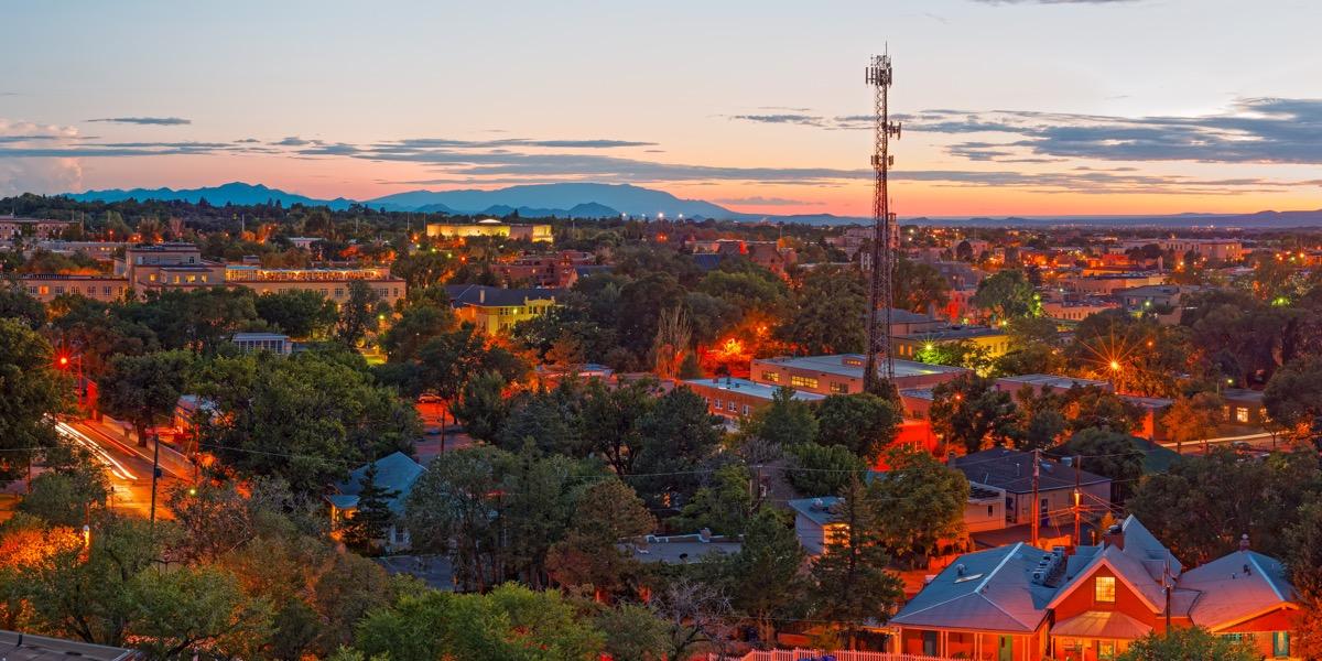 santa fe new mexico at dusk