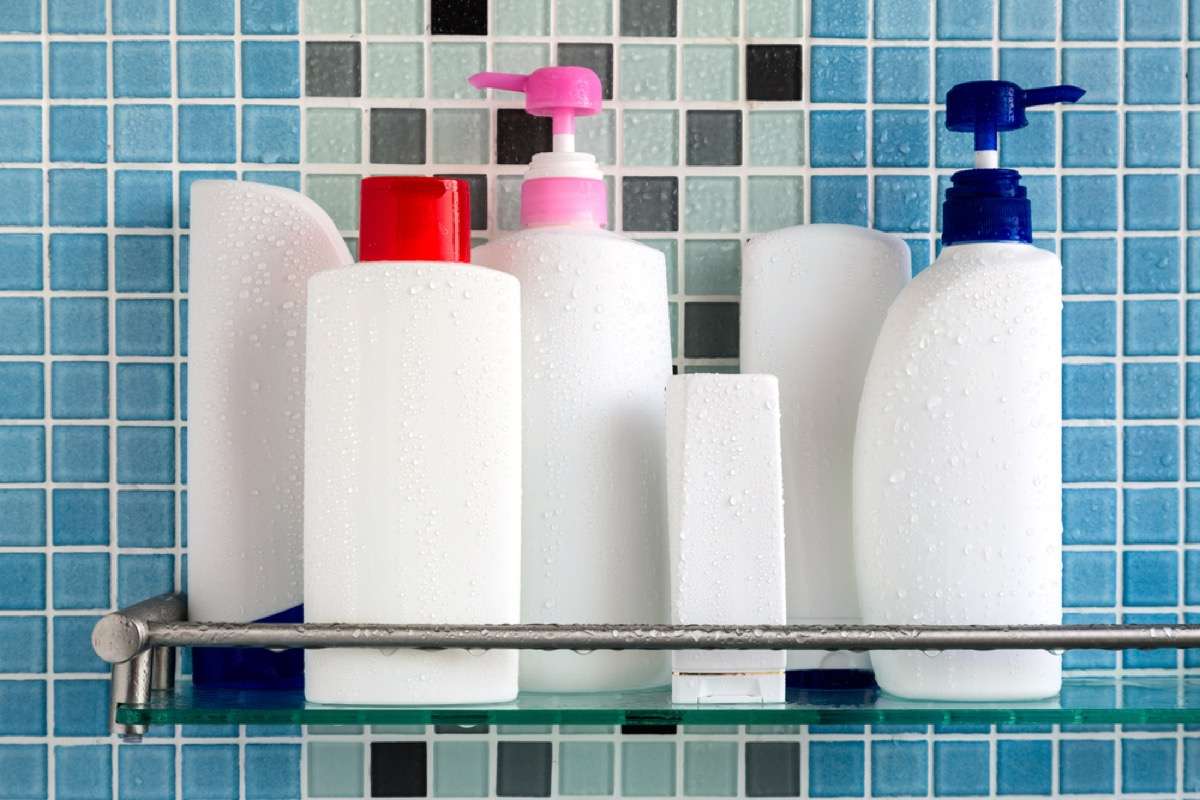 bottles in shower caddy, downsizing your home