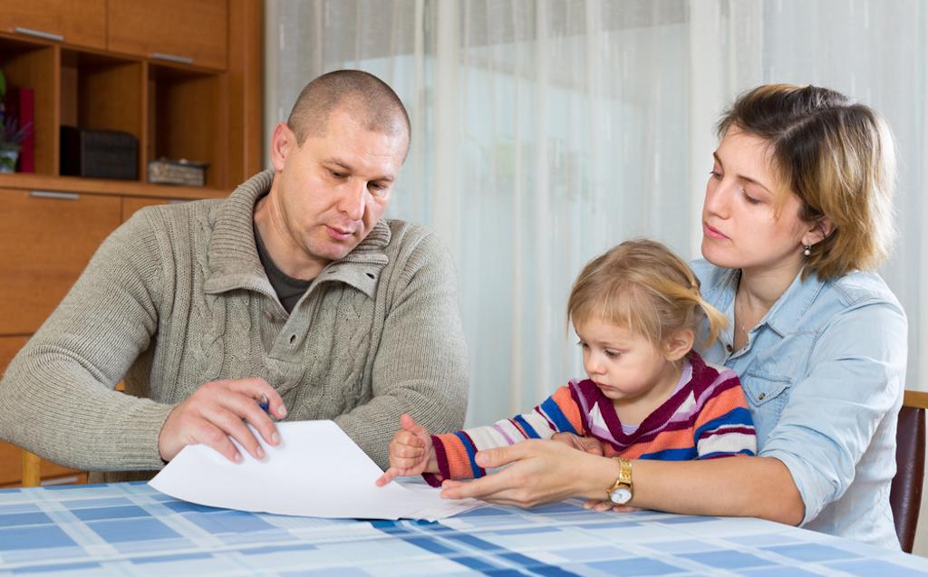family paying bills