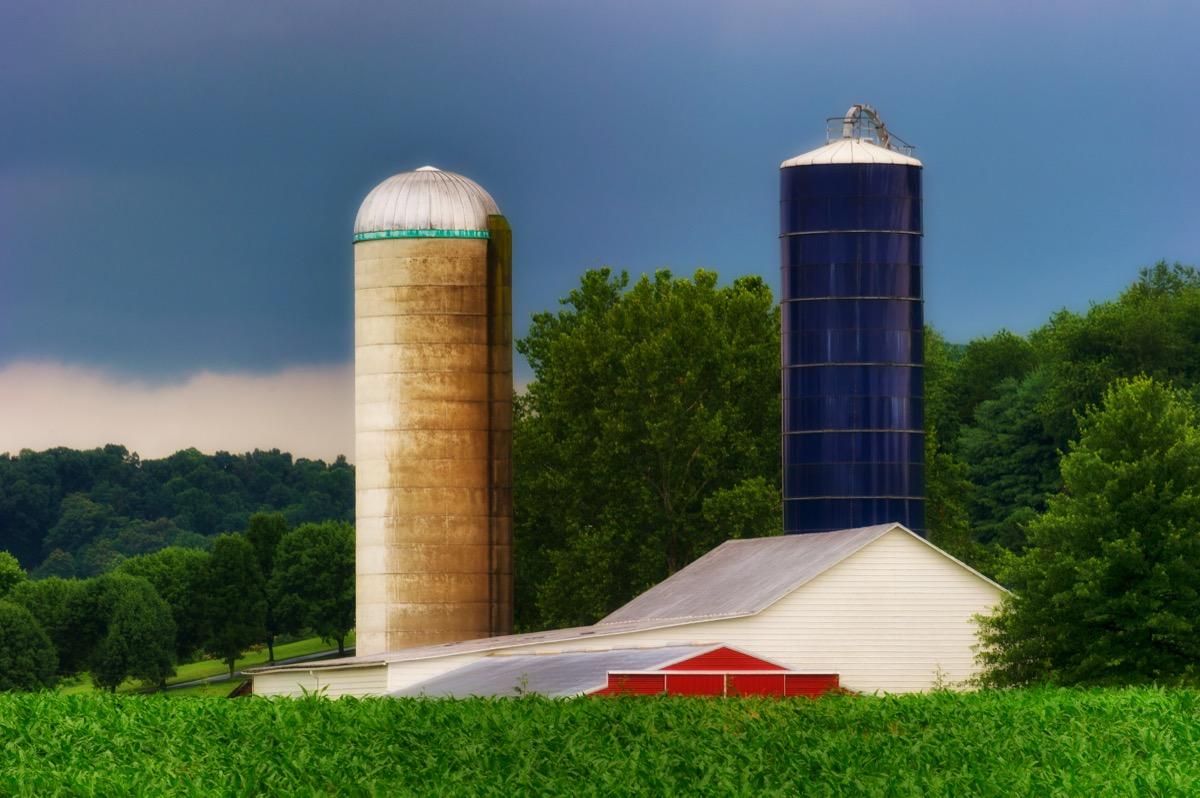 silos on a farm in huntington west virginia