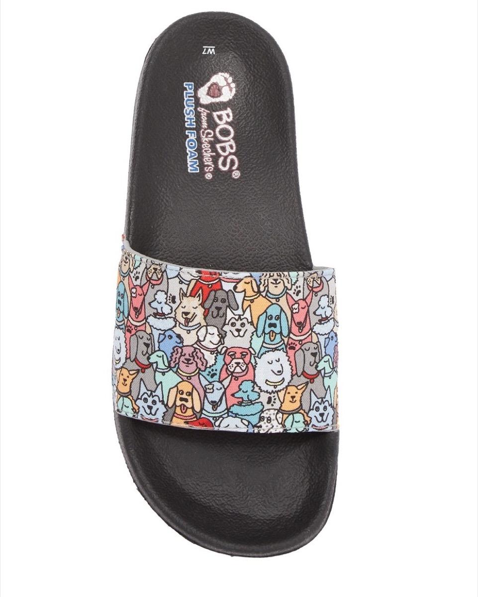 multicolored dog slides, affordable sandals