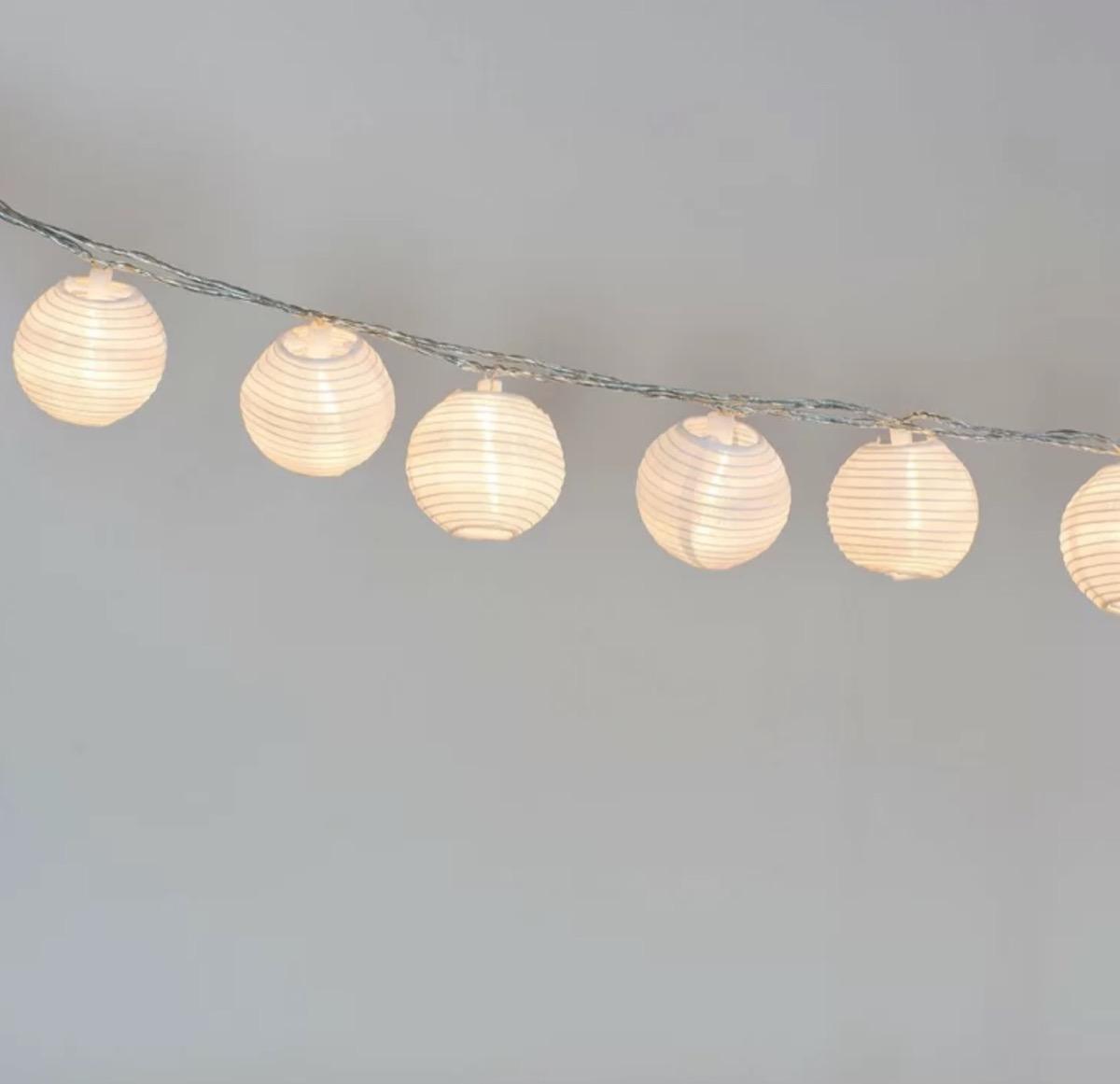 solar LED rice lantern string lights, summer party essentials