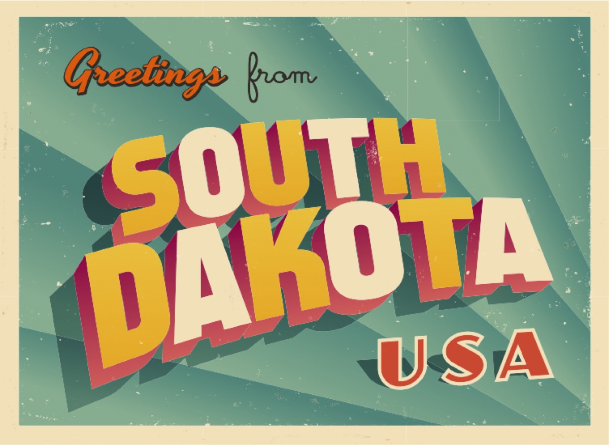 south dakota postcard famous state statues