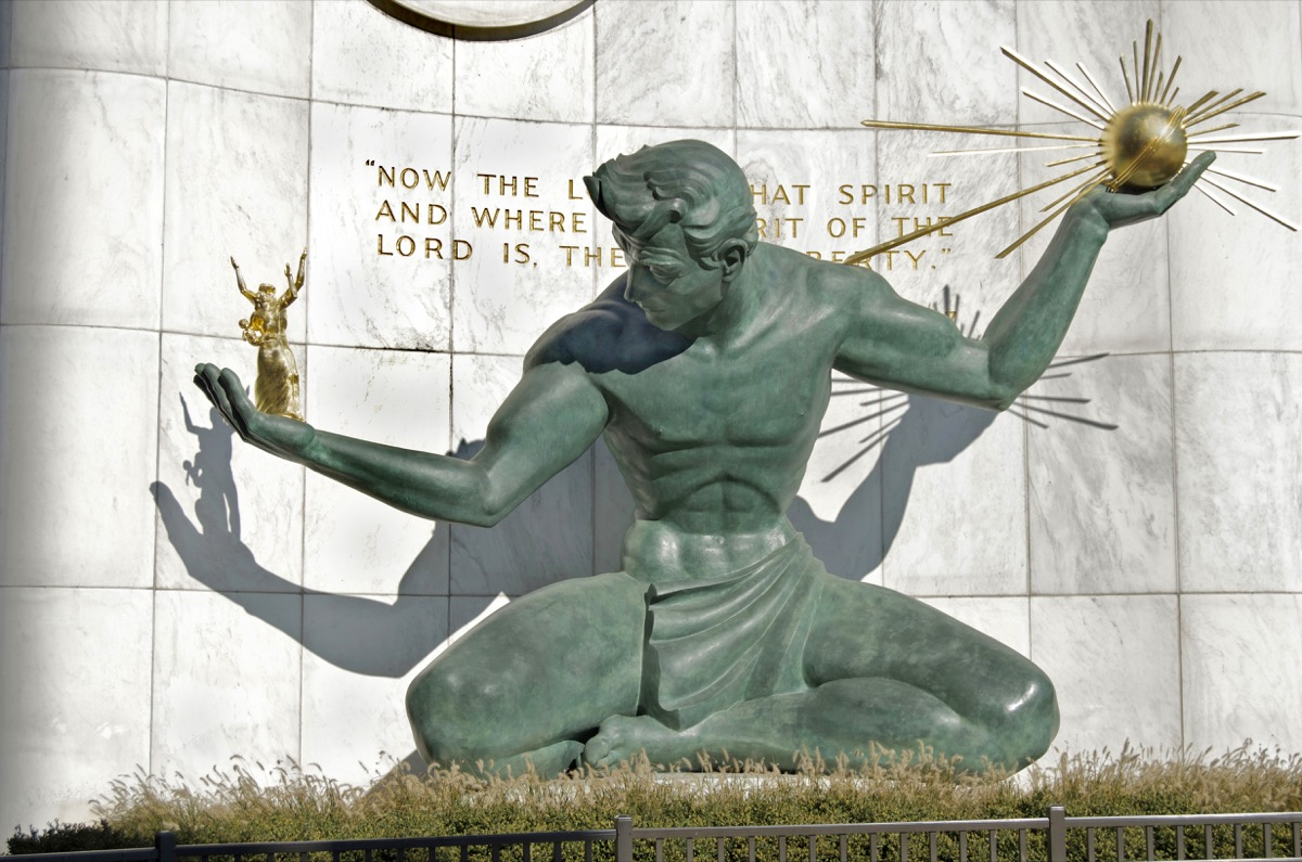 spirit of detroit statue in michigan famous state statues