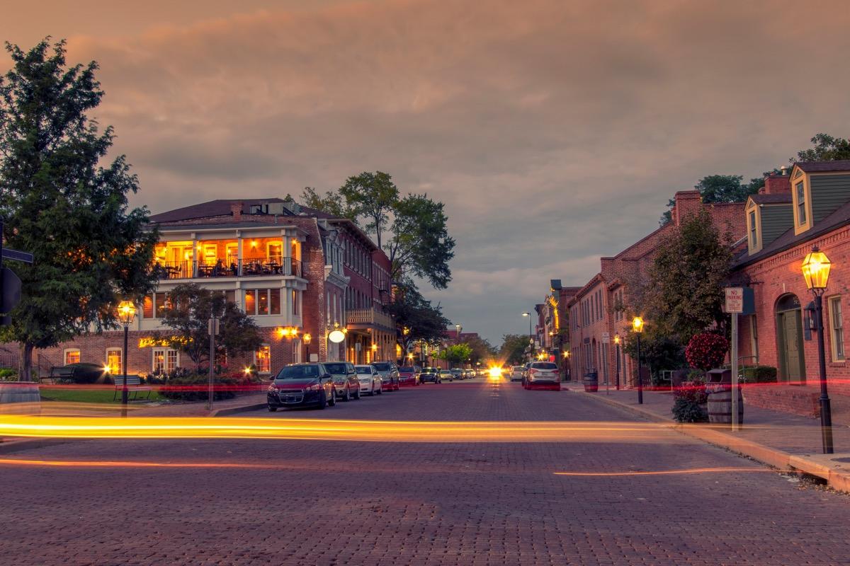 st charles missouri historic district at night