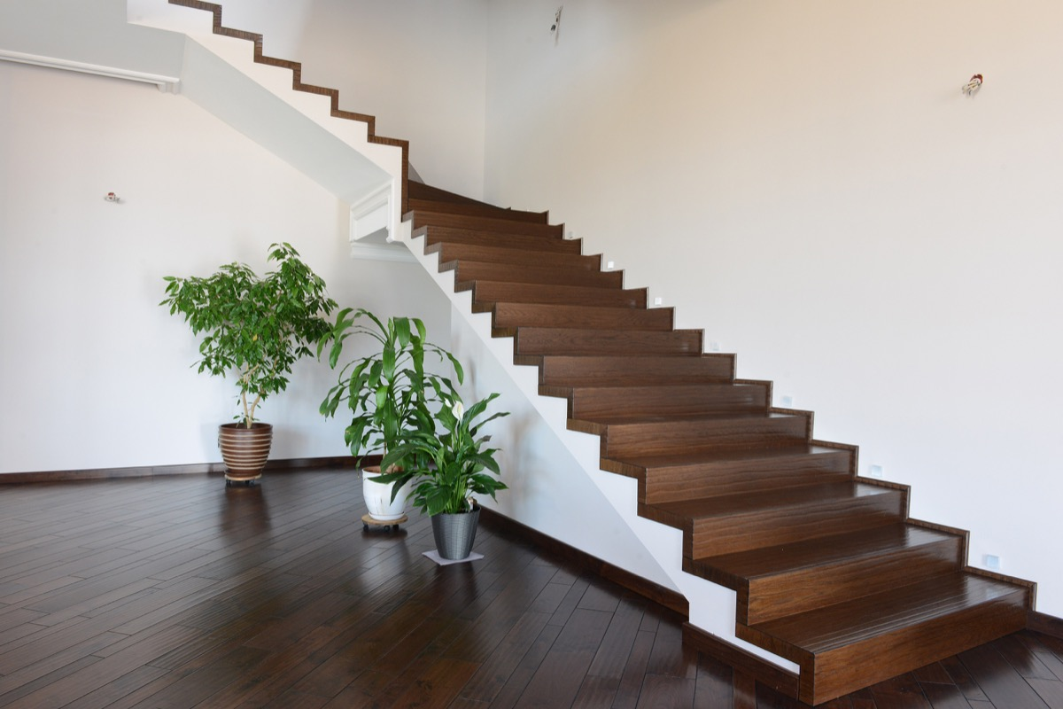 wooden staircase without railing