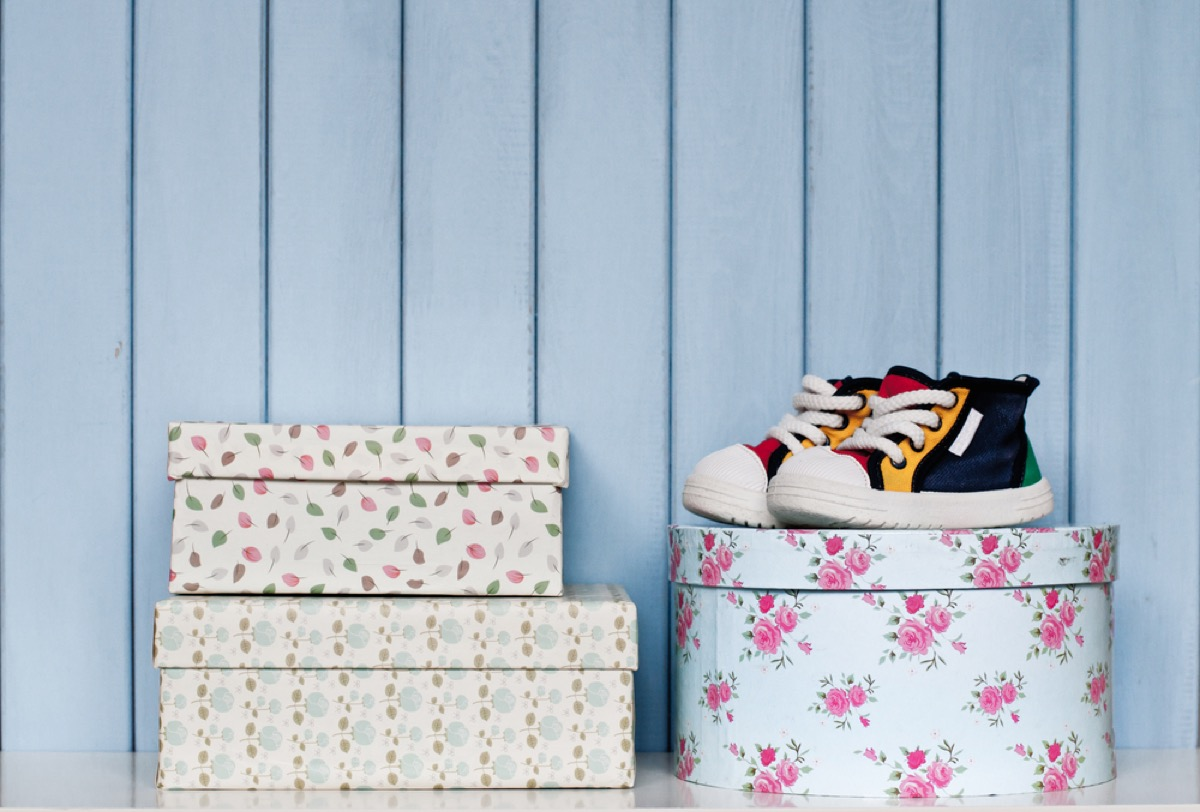 patterned storage boxes, downsizing your home