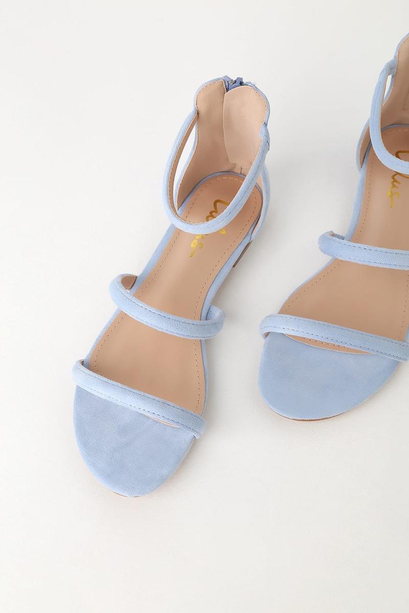 blue three strap sandals, affordable sandals