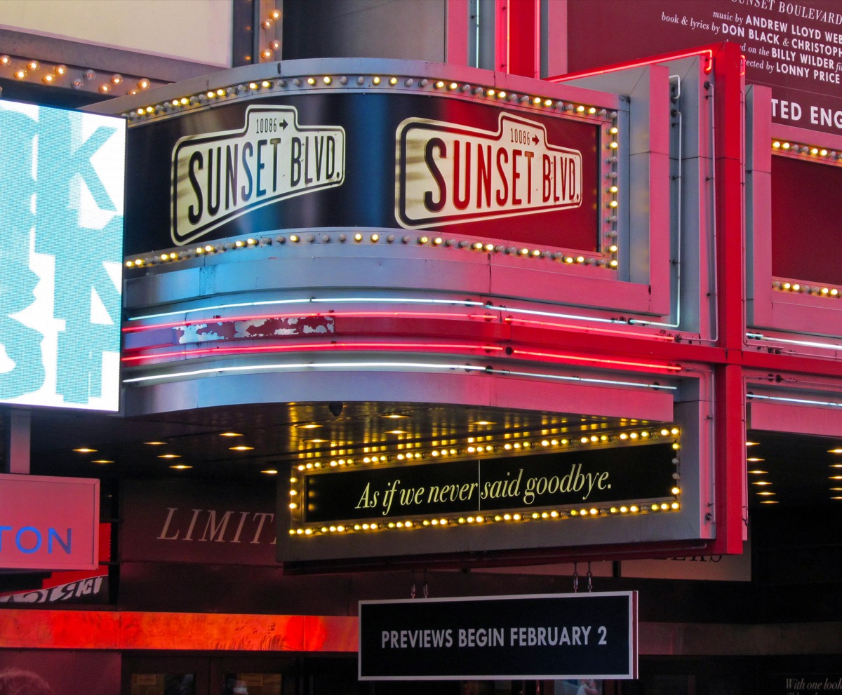 sunset boulevard on braodway sign, broadway tickets